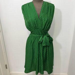 EUC Balenciaga Green Polka Dot Silk Dress Size 42